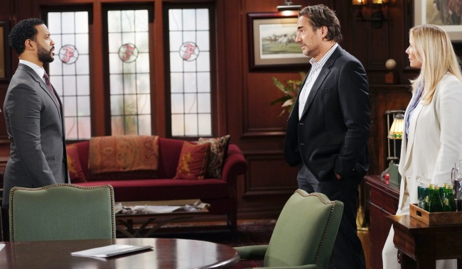 """Katherine Kelly Lang, Thorsten Kaye, Aaron D Spears""""The Bold and the Beautiful"""" Set CBS Television City Los Angeles, Ca. 08/24/21 © Howard Wise/jpistudios.com 310-657-9661 Episode # 8609 U.S.Airdate 09/22/21"""