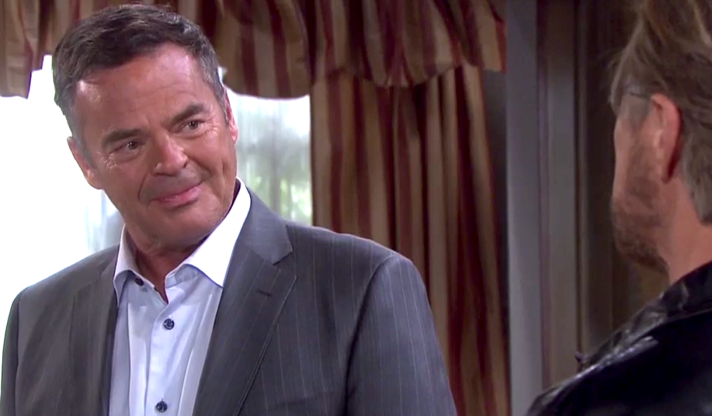 Justin listens to Steve at the Kiriakis mansion on Days of Our Lives