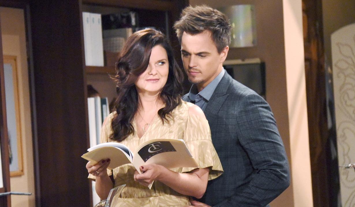 Katie Logan and Wyatt Spencer flirt on Bold and Beautiful