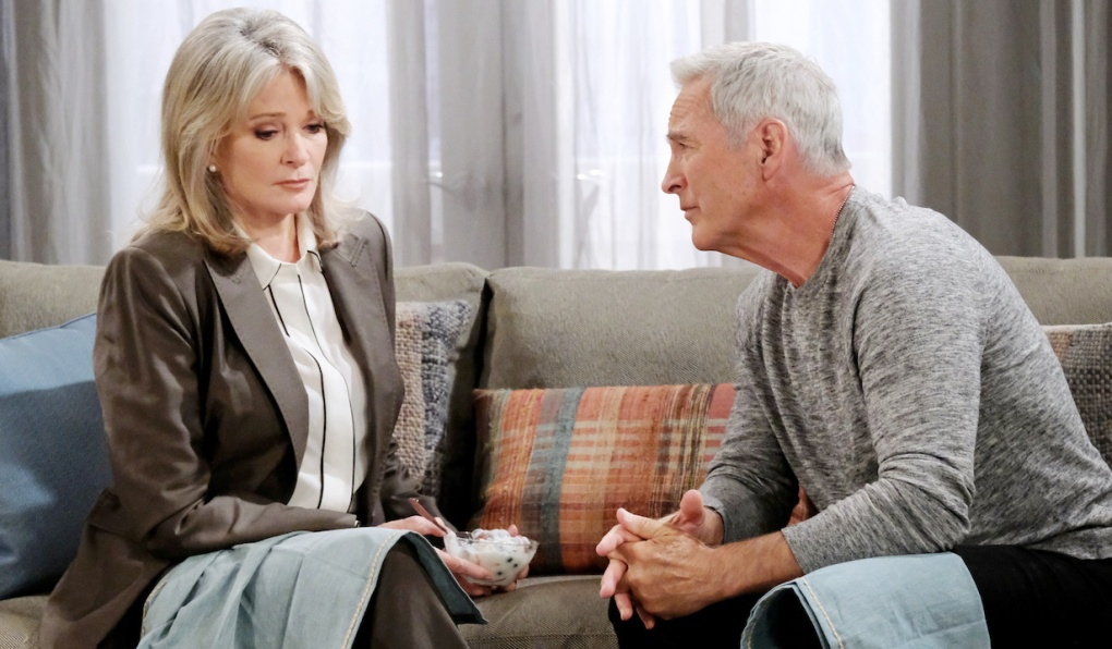 John leans in on the couch to make a point with a concerned Marlena on Days of Our Lives