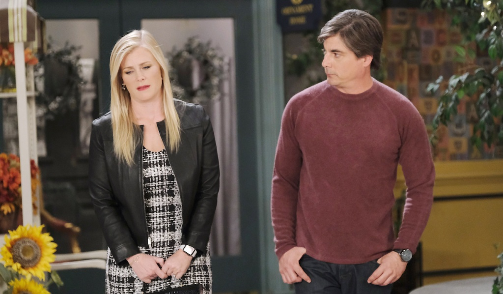 Lucas and Sami talk in Horton Square on Days of our Lives