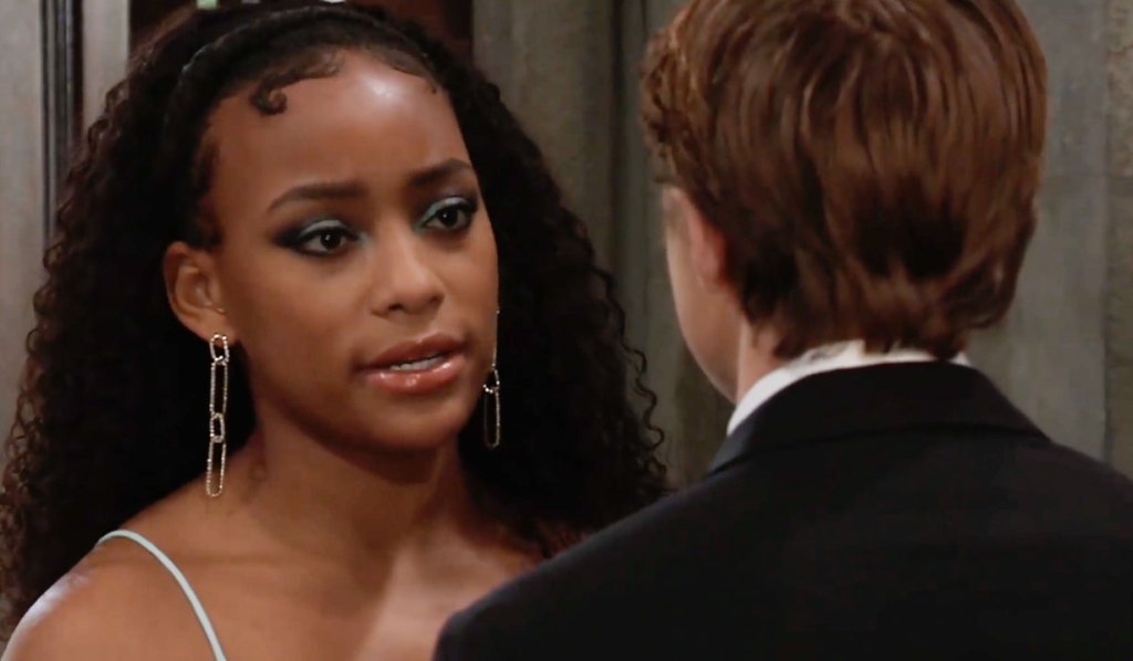 Trina and Cam chat at wedding GH