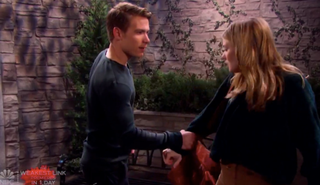Tripp grabs Allie's arm on Days of our Lives