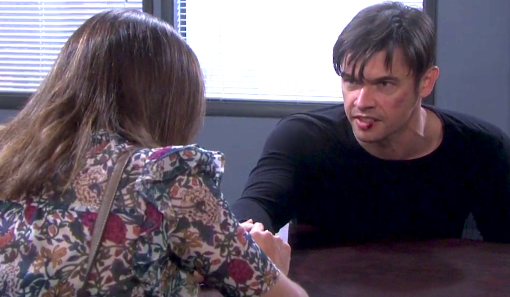 Gwen visits a scowling Xander in the interrogation room on Days of Our Lives