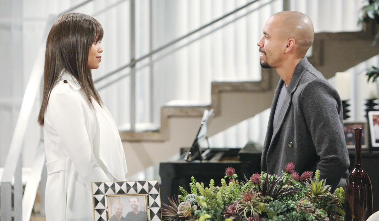 """Mishael Morgan, Bryton James""""The Young and the Restless"""" Set CBS television CityLos Angeles09/05/19© Howard Wise/jpistudios.com310-657-9661Episode # 11792U.S. Airdate 10/11/19"""