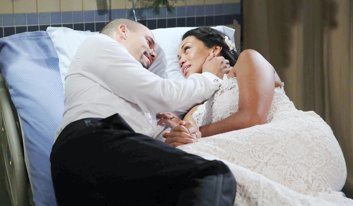 """hilary dies Bryton James, Mishael Morgan""""The Young and the Restless"""" Set CBS television CityLos Angeles06/22/18© Howard Wise/jpistudios.com310-657-9661Episode # 11483U.S. Airdate 07/27/18"""