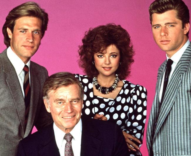 THE COLBYS, John James, Charlton Heston, Emma Samms, Maxwell Caulfield, 1985-1987