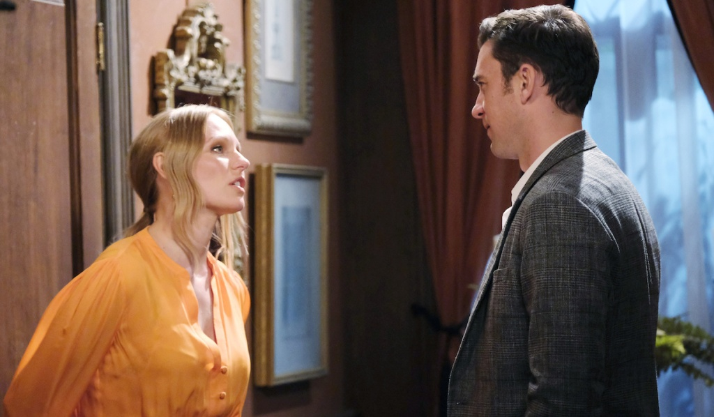 Abigail and Chad talk outside their bedroom door on Days of Our Lives