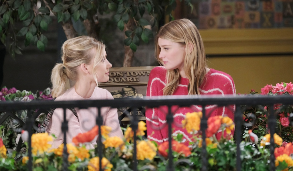 Allie and Claire talk in Horton Square on Days of our Lives