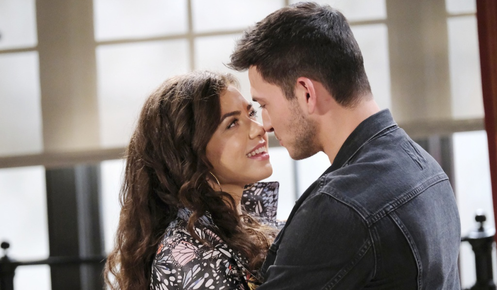 Ciara and Ben smile and touch noses in their apartment on Days of Our Lives
