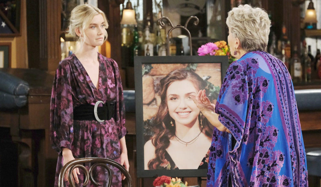 Claire talks with Julie at Ciara's memorial service on Days of Our Lives