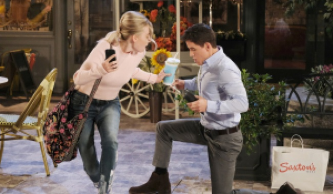 Claire trips over Charlie in Horton Square on Days of our Lives