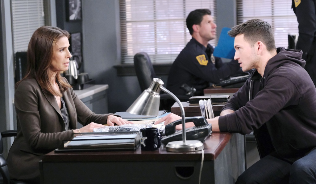 Hope and Ben talk at the Salem PD on Days of our Lives