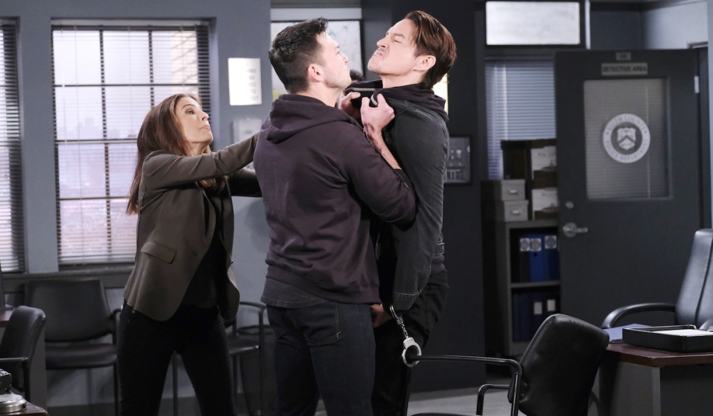 Hope tries to intervene when Ben grabs Vincent on Days of our Lives