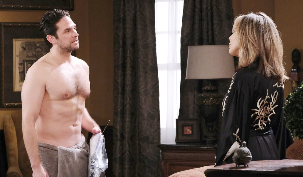 Shirtless Jake talks to Kate in bedroom on Days of our Lives