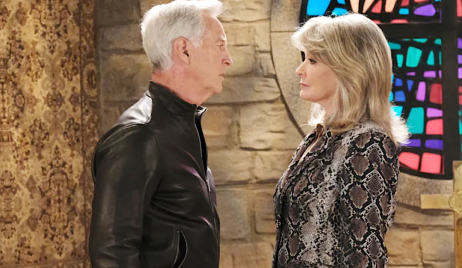 John is face to face with MarDevil in front of a stained glass window at St. Luke's on Days of Our Lives