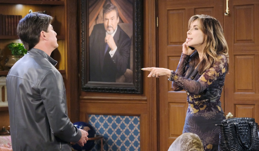 Kate makes a point with Lucas on Days of Our Lives