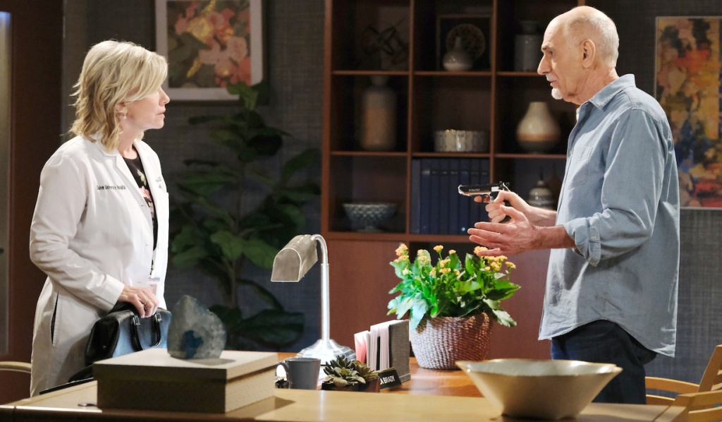 Rolf pulls a gun on Kayla on Days of Our Lives