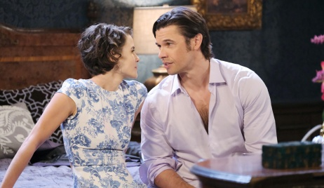 Sarah and Xander in bedroom on Days of our Lives