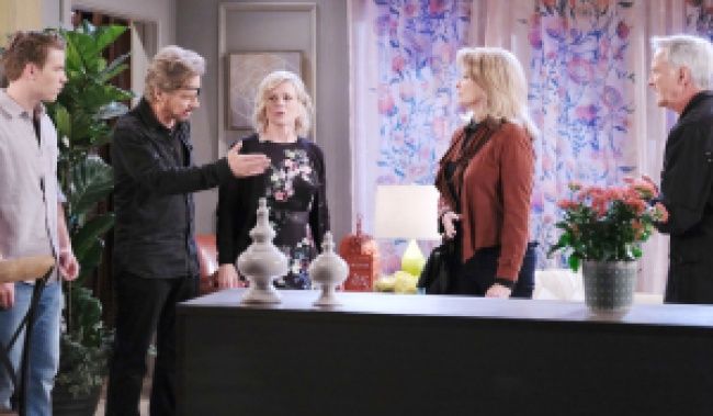 Steve defends Tripp to Kayla, Marlena and John on Days of Our Lives