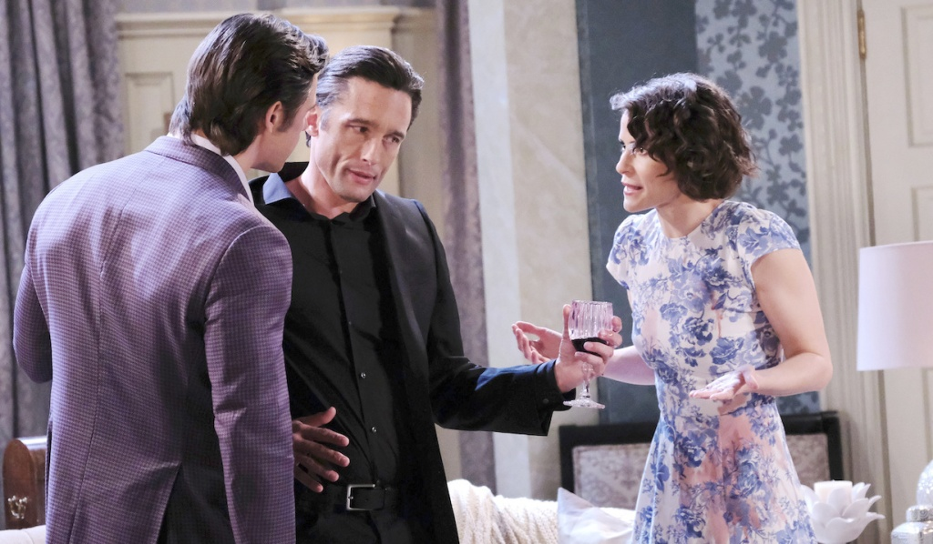 Philip in the middle of upset Sarah and Xander on Days of Our Lives