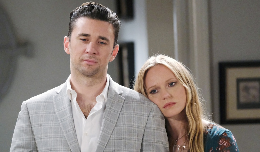 Chad and Abigail looking pensive at Thanksgiving on Days of Our Lives