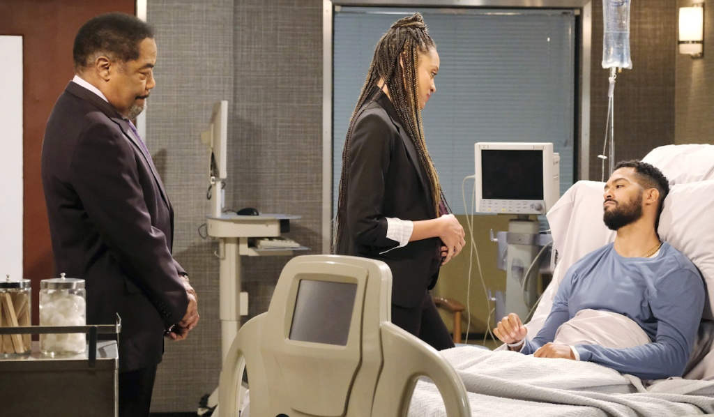 Abe and Lani visit Eli in the hospital on Days of Our Lives