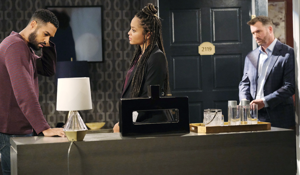 Lani worries about Eli in Brady's hotel room on Days of Our Lives