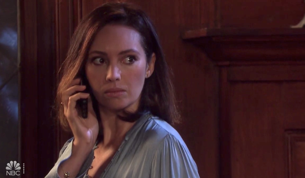 Gwen caught on the phone on Days of Our Lives