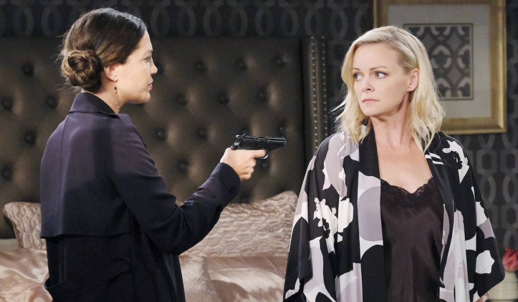 Jan holds a gun on Belle on Days of Our Lives