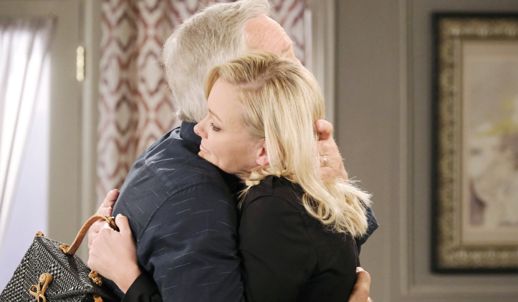 John and Belle hug on Days of Our Lives