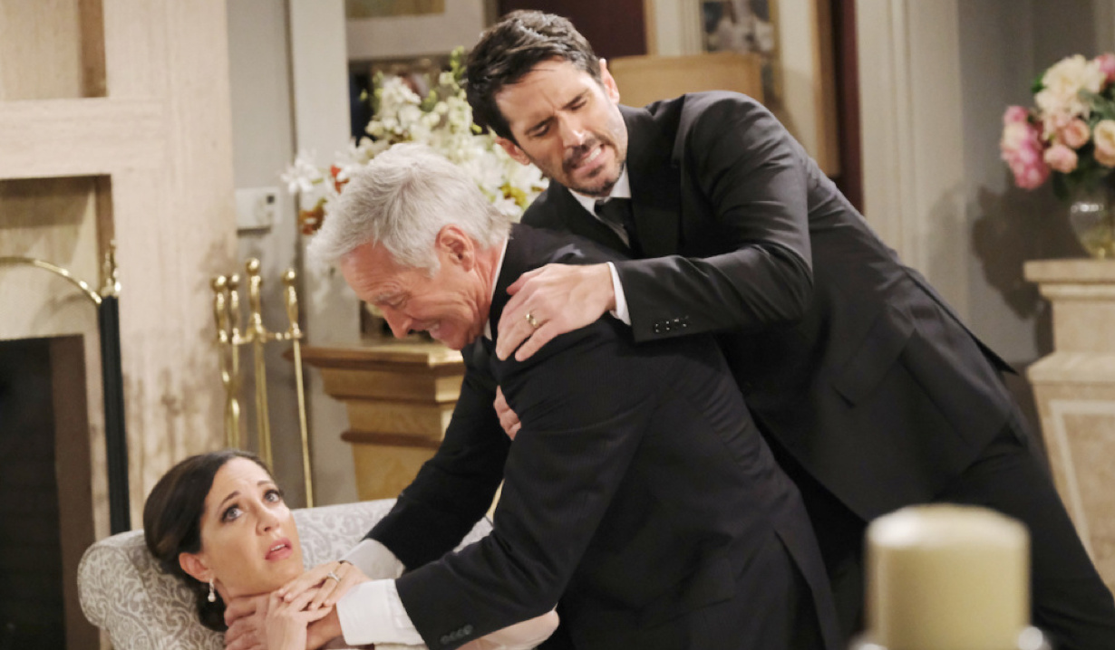 Shawn tries to pull John away from strangling Jan on Days of Our Lives