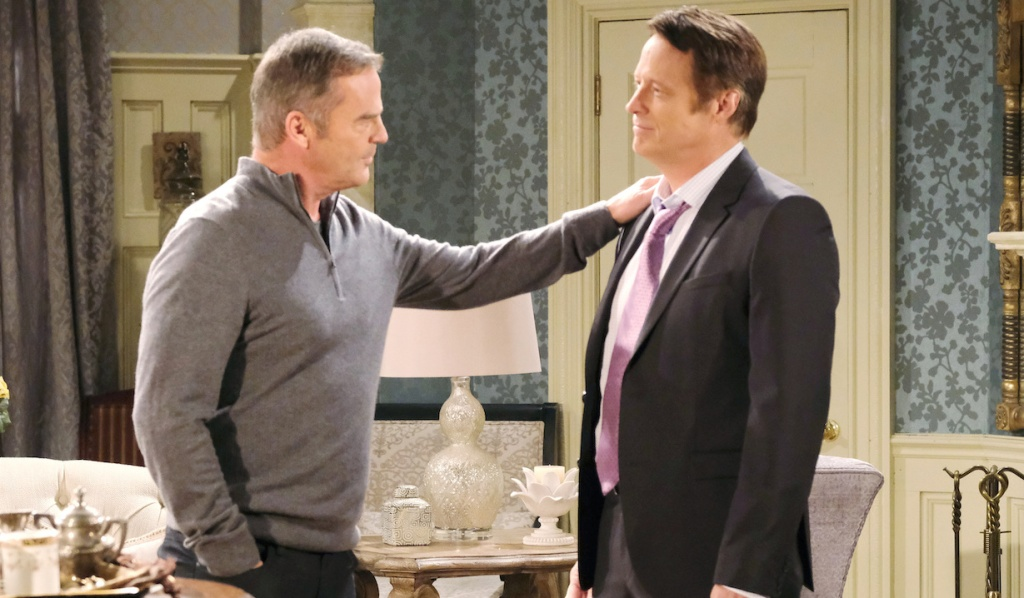Justin and Jack talk at the Kiriakis mansion on Days of Our Lives