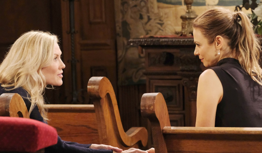 Kristen and Ava in church on Days of Our Lives