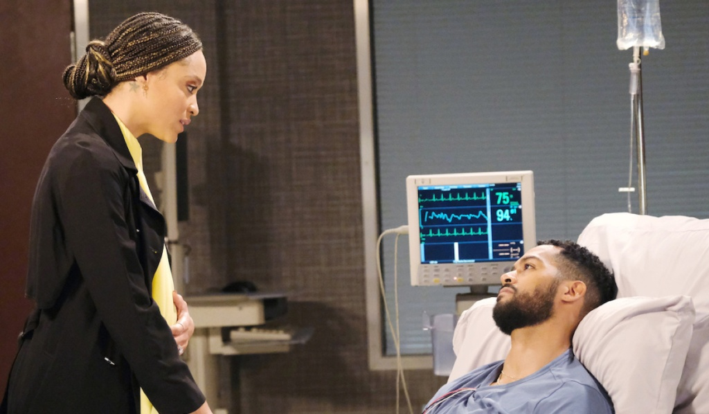 Lani visits Eli at the hospital on Days of Our Lives