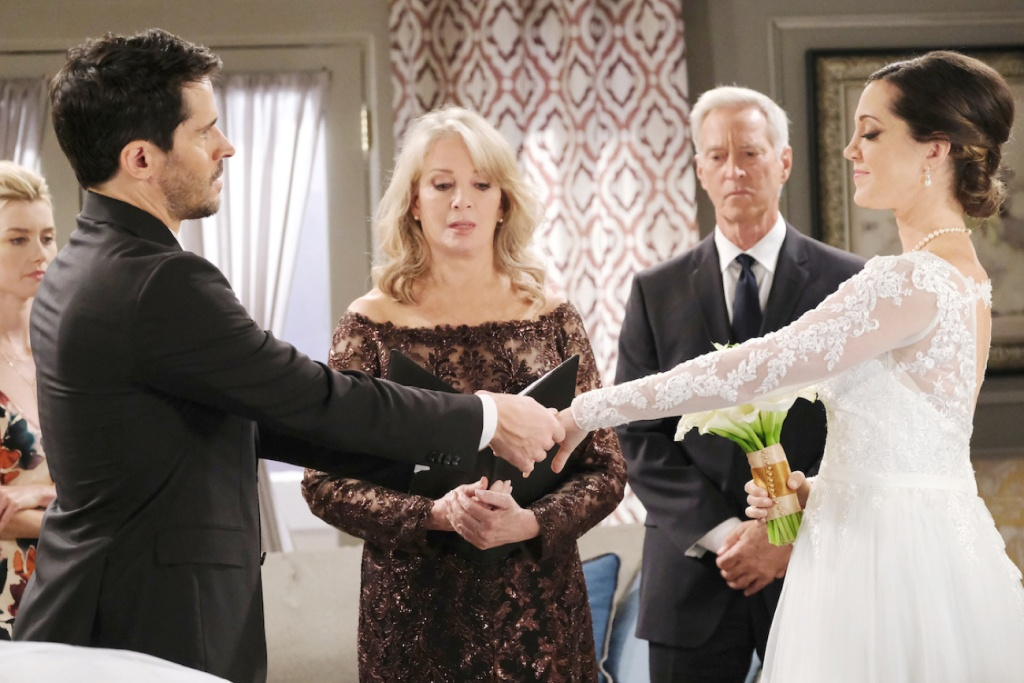 Marlena side-eyes Shawn and Jan's wedding at Days of Our Lives