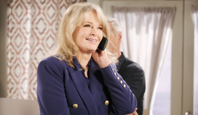 Marlena smiles talking on her phone on Days of Our Lives