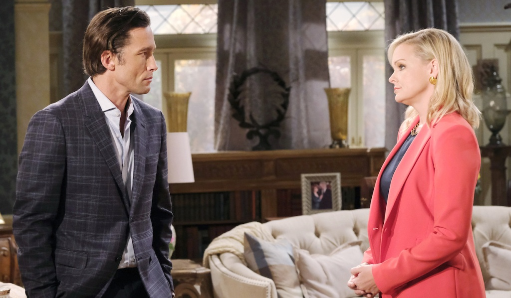 Philip and Belle talk at Kiriakis mansion on Days of Our Lives
