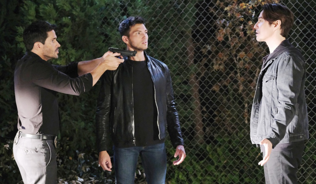 Ben stands by as Shawn holds a gun on Vincent on Days of Our Lives