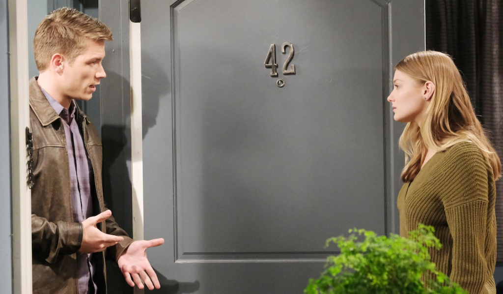 Allie listens to Tripp at her door on Days of Our Lives