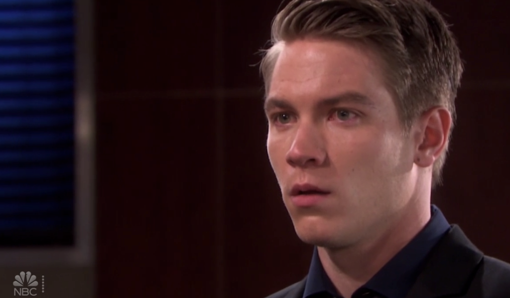 Tripp reacts to hearing the DNA test results on Days of Our Lives