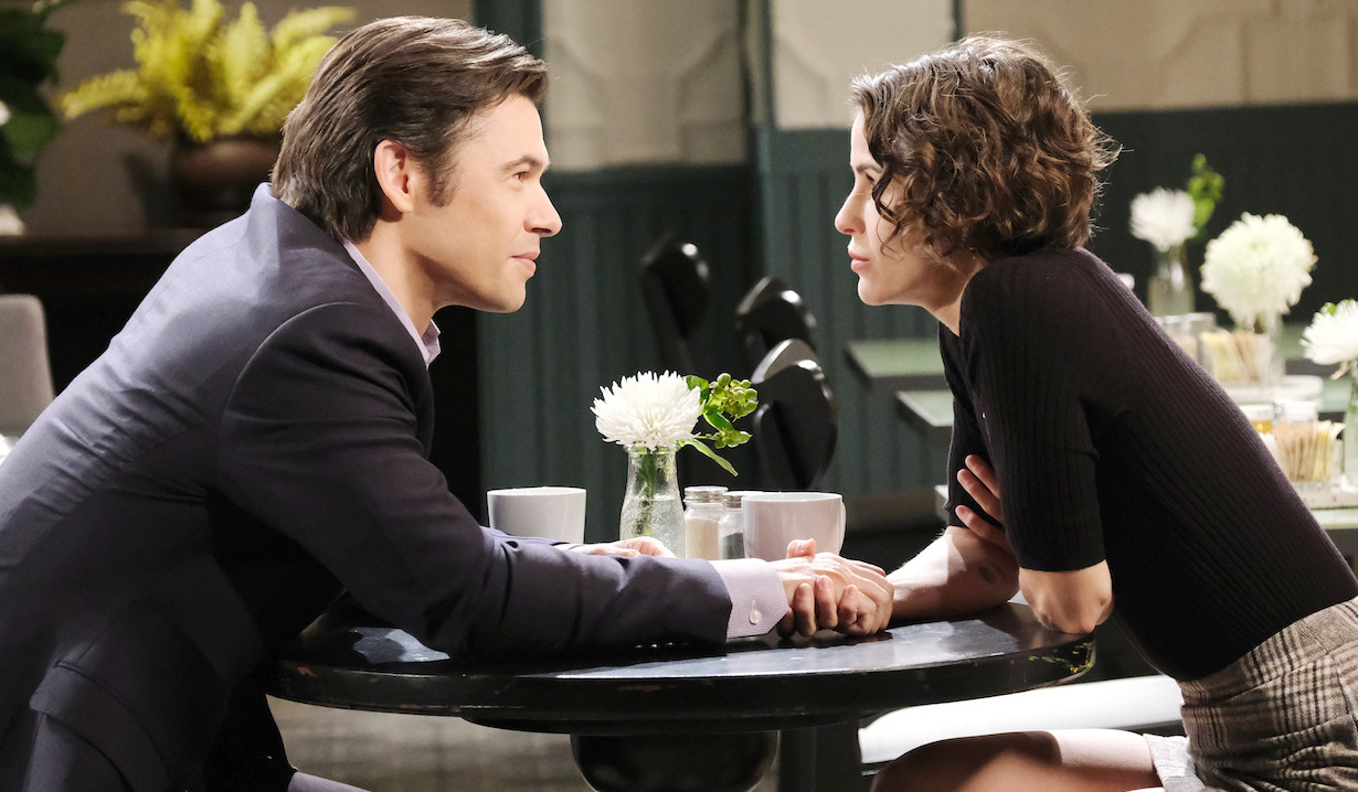Xander and Sarah conspire on Days of Our Lives