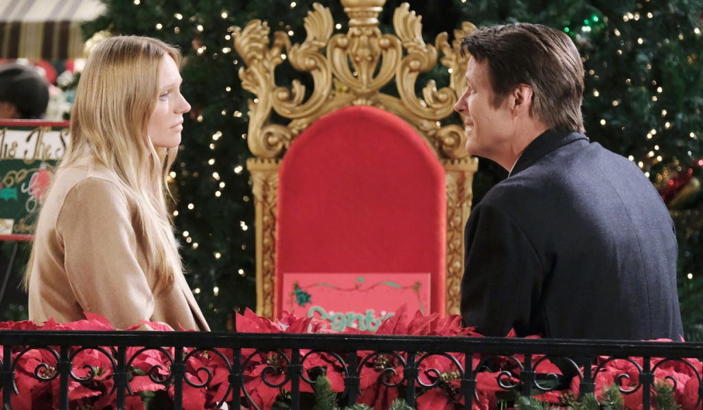 Abby and Jack talk on a bench in Horton Square on Days of Our Lives