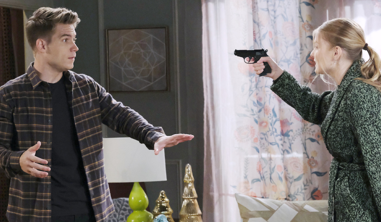 Allie holds a gun on Tripp on Days of Our Lives