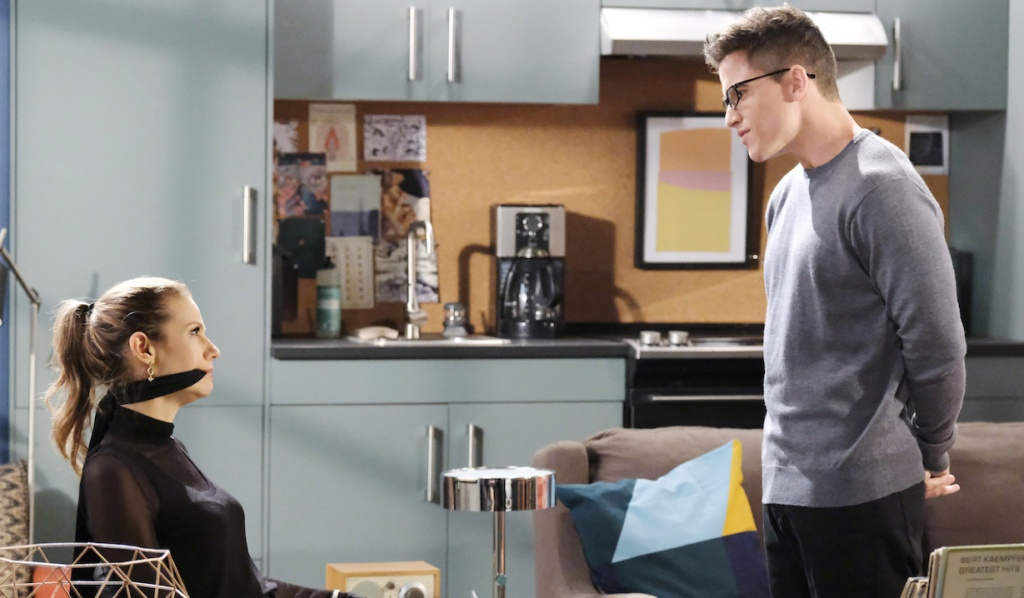 A tied up and gagged Ava faces off with Charlie on Days of Our Lives