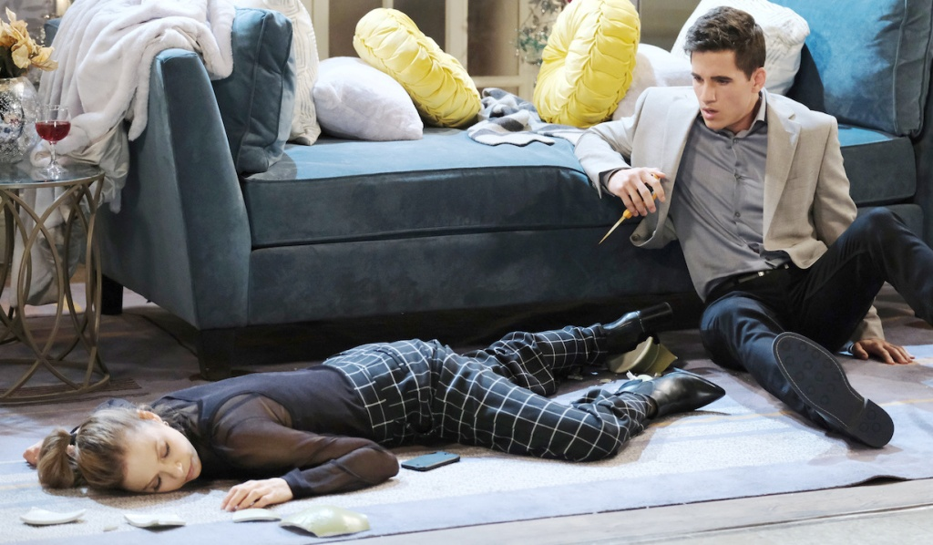 Charlie has scissors and Ava's passed out on Days of Our Lives