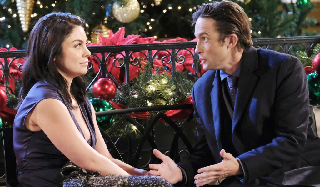 Chloe and Philip catch up in Horton Square on Days of Our Lives