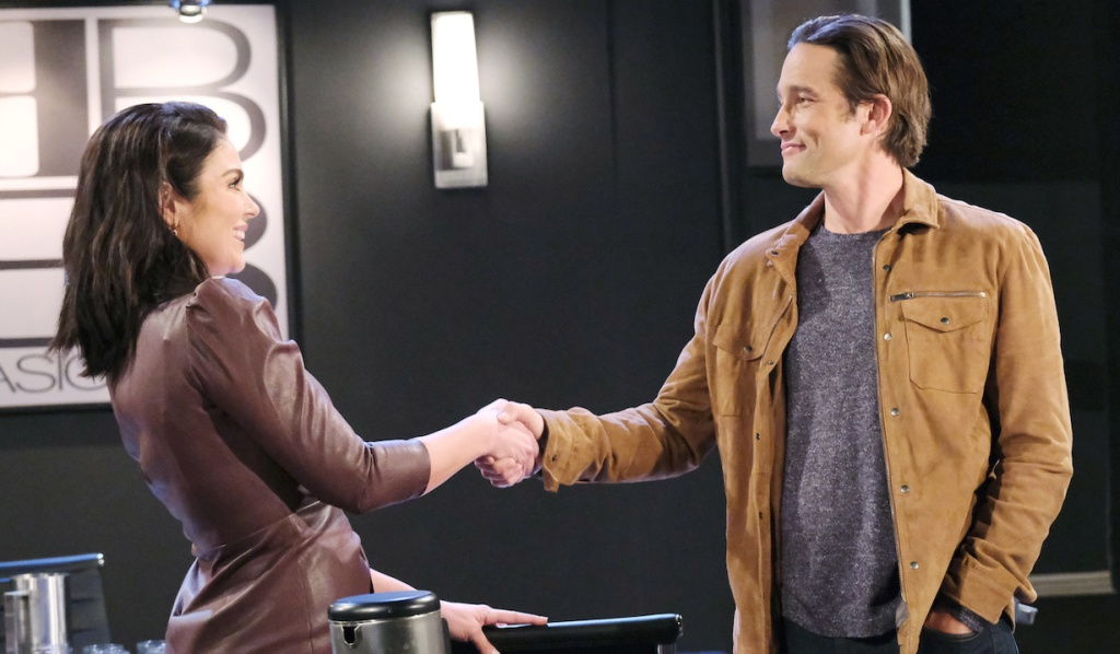 Chloe and Philip shake hands on Days of Our Lives