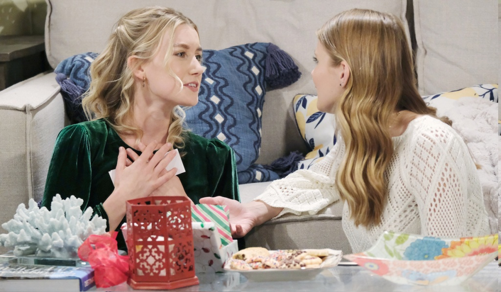 Allie and Claire open Christmas presents on Days of Our Lives