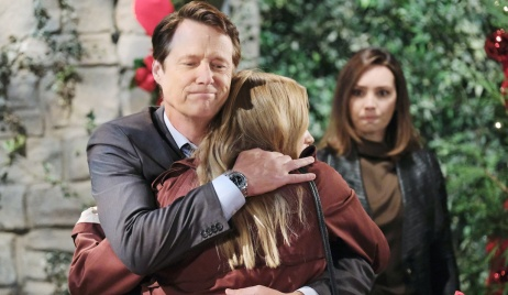 Gwen glowers as Jack and Abigail hug on Days of Our Lives